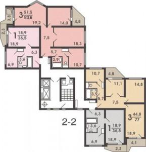Планировка дома П44Т угловой