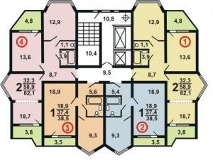 Планировка дома П44К
