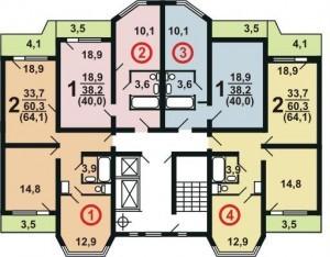 Планировка дома П44К4