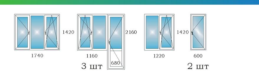 Окна в четырехкомнатной угловой квартире с эркером П3М С