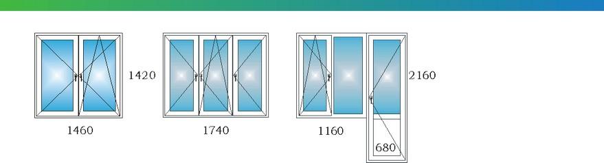 Окна в двухкомнатной квартире дома П3М с размерами М