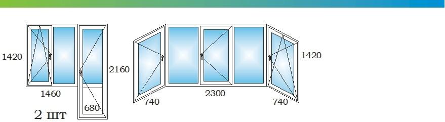 Окна в двухкомнатной угловой квартире дома П44ТМ С