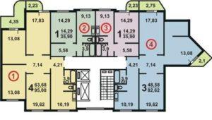 Планировка квартир дома серии П3М угловой подъезд схема 5