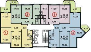 Планировка квартир дома серии П3М угловой подъезд схема 6