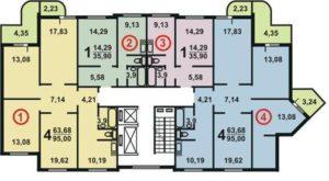 Планировка квартир дома серии П3М угловой подъезд схема 7